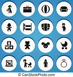 Set Of 16 Editable Folks Icons. Includes Symbols Such As Grandmother, Balloon , Mother With Baby. Can Be Used For Web, Mobile, UI And Infographic Design.
