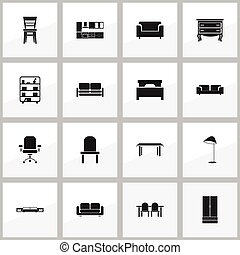Set Of 16 Editable Furnishings Icons. Includes Symbols Such As Bookshelf, Couch, Commode And More. Can Be Used For Web, Mobile, UI And Infographic Design.