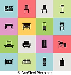 Set Of 16 Editable Furnishings Icons. Includes Symbols Such...