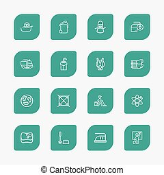 Set Of 16 Editable Hygiene Outline Icons. Includes Symbols Such As Pile, Attention, Worker And More. Can Be Used For Web, Mobile, UI And Infographic Design.