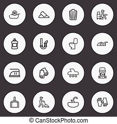 Set Of 16 Editable Hygiene Outline Icons. Includes Symbols Such As Sink, Siphon, Lavatory And More. Can Be Used For Web, Mobile, UI And Infographic Design.