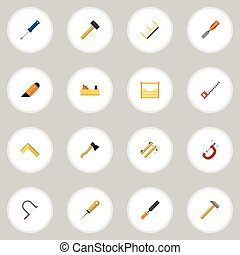 Set Of 16 Editable Instrument Icons. Includes Symbols Such As Clamp, Malleus, Hammer And More. Can Be Used For Web, Mobile, UI And Infographic Design.
