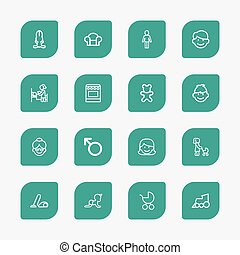 Set Of 16 Editable Kin Outline Icons. Includes Symbols Such As Bunny, Mother, Doll And More. Can Be Used For Web, Mobile, UI And Infographic Design.