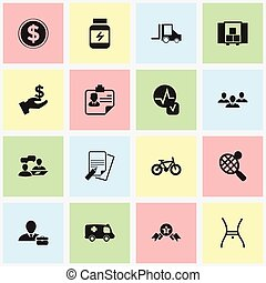 Set Of 16 Editable Mixed Icons. Includes Symbols Such As Dollar, Camion, Identification And More. Can Be Used For Web, Mobile, UI And Infographic Design.