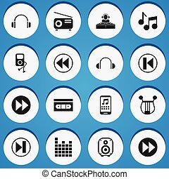 Set Of 16 Editable Mp3 Icons. Includes Symbols Such As Ahead, Disco Club, Sound Controlling And More. Can Be Used For Web, Mobile, UI And Infographic Design.