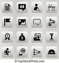 Set Of 16 Editable Office Icons. Includes Symbols Such As Comment, Publicity, Badge And More. Can Be Used For Web, Mobile, UI And Infographic Design.