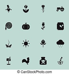 Set Of 16 Editable Planting Icons. Includes Symbols Such As Bugaboo, Hosepipe, Flower And More. Can Be Used For Web, Mobile, UI And Infographic Design.