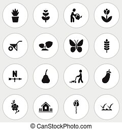 Set Of 16 Editable Planting Icons. Includes Symbols Such As Home With Fence, Water The Flower, Lawn And More. Can Be Used For Web, Mobile, UI And Infographic Design.