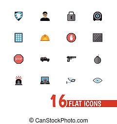 Set Of 16 Editable Security Icons. Includes Symbols Such As Safe, Hatchback, Security Camera And More. Can Be Used For Web, Mobile, UI And Infographic Design.