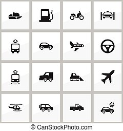 Set Of 16 Editable Shipment Icons. Includes Symbols Such As Cable Railway, Hatchback, Suv And More. Can Be Used For Web, Mobile, UI And Infographic Design.