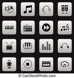 Set Of 16 Editable Sound Icons. Includes Symbols Such As Music Speaker, Tape, Break Music And More. Can Be Used For Web, Mobile, UI And Infographic Design.