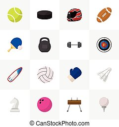 Set Of 16 Editable Sport Icons. Includes Symbols Such As Hard Hat, Fighting, Kegling And More. Can Be Used For Web, Mobile, UI And Infographic Design.
