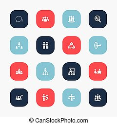 Set Of 16 Editable Team Icons. Includes Symbols Such As...