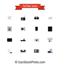 Set Of 16 Editable Technology Icons. Includes Symbols Such...