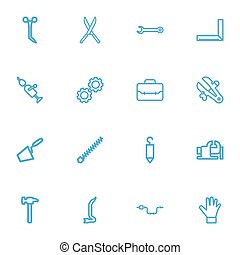 Set Of 16 Editable Tools Outline Icons. Includes Symbols Such As Hook, Handle Hit, Rotating Bit. Can Be Used For Web, Mobile, UI And Infographic Design.
