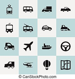 Set Of 16 Editable Transport Icons. Includes Symbols Such As...
