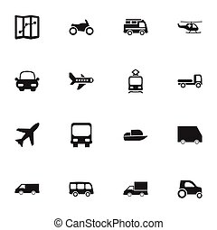 Set Of 16 Editable Transport Icons. Includes Symbols Such As Tramcar, Van, Motorbike And More. Can Be Used For Web, Mobile, UI And Infographic Design.