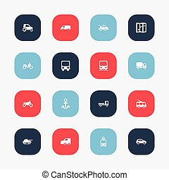 Set Of 16 Editable Transportation Icons. Includes Symbols Such As Shipping, Motorbike, Hatchback And More. Can Be Used For Web, Mobile, UI And Infographic Design.