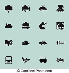 Set Of 16 Editable Transportation Icons. Includes Symbols ...