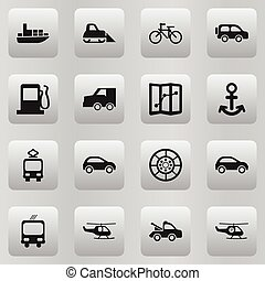 Set Of 16 Editable Transportation Icons. Includes Symbols Such As Shipping, Hatchback, Transportation And More. Can Be Used For Web, Mobile, UI And Infographic Design.