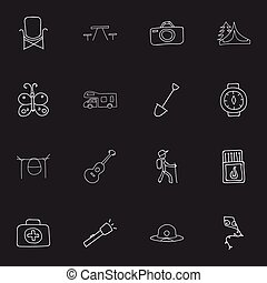 Set Of 16 Editable Travel Icons. Includes Symbols Such As Beauty Insect, Campfire Cooking, Flammable Stick And More. Can Be Used For Web, Mobile, UI And Infographic Design.