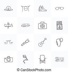 Set Of 16 Editable Trip Doodles. Includes Symbols Such As...