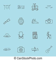 Set Of 16 Editable Trip Doodles. Includes Symbols Such As Seat, Beach Hat, Photographing And More. Can Be Used For Web, Mobile, UI And Infographic Design.