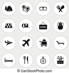 Set Of 16 Editable Trip Icons. Includes Symbols Such As...