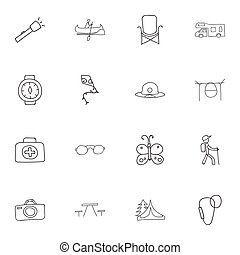 Set Of 16 Editable Trip Icons. Includes Symbols Such As Beach Hat, Boat, Campfire Cooking And More. Can Be Used For Web, Mobile, UI And Infographic Design.