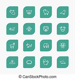 Set Of 16 Editable Zoo Outline Icons. Includes Symbols Such...