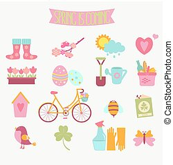 set of 16 flat colorful spring icons
