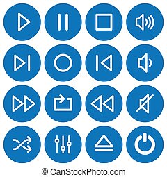 Set of 16 flat media player icons
