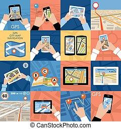 Set of 16 icons GPS Navigation. - Set of 16 icons GPS...