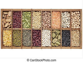 old wooden typesetter box with 16 samples of assorted legumes: green, red and French lentils, soybean, green and yellow pea, fava bean, kidney, black, mung chickpea bean, adzuki bean