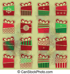 Set of 16 of Christmas presents - Set of 16 types of ...