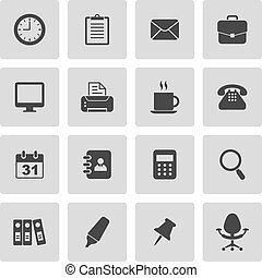 Set of 16 office vector icons
