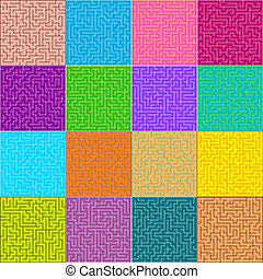 Set of 16 perfect labyrinth (maze). EPS 8 vector file included