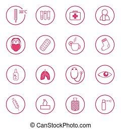 set of 16 pink medical signs