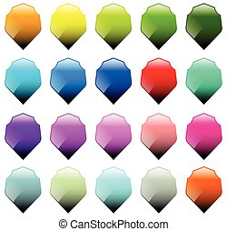 Set of 16 shield shapes with different colors