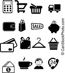 Set of 16 Shopping vector icons