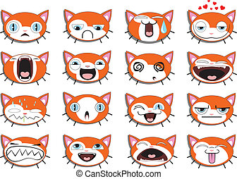 Set of 16 smiley kitten faces. all grouped