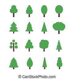 Set of 16 tree icons. Silhouettes of trees in flat style. Nature and green planet concept vector illustration.