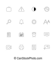 Set of 16 universal icons - Different icons for mobile apps,...