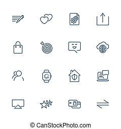 Set of 16 vector icons for software, application or websites - social media and technology
