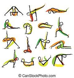Set of 16 Yoga Doodle Icons