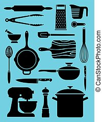 Set of 17 kitchenware illustrations.