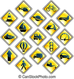 Set of 17 yellow traffic and transportation icon