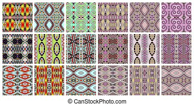 set of 18 geometric seamless pattern in ethnic style