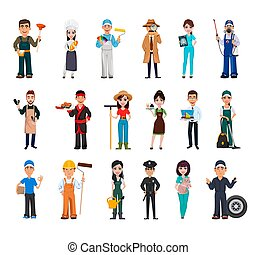 Set of 18 professions. People of different occupations, eighteen cartoon characters. Stock vector illustration