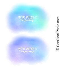 Set of 2 bright stains. Pseudo watercolor. Paint texture. Colorful daub. It can be used as background for text